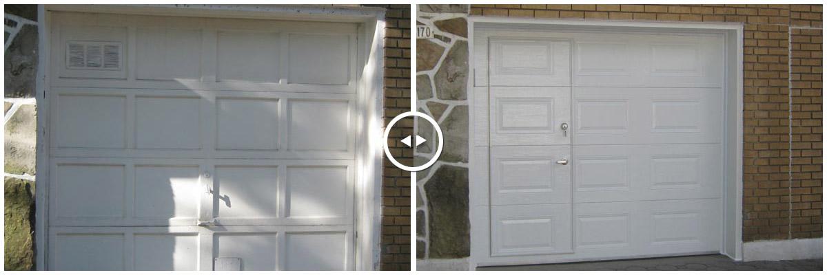 avant et apres installation porte passage dans porte de garage